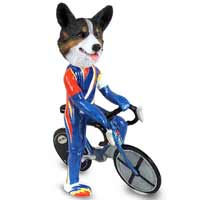 Welsh Corgi Cardigan Bicycle Doogie Collectable Figurine