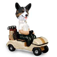 Welsh Corgi Cardigan Golf Cart Doogie Collectable Figurine