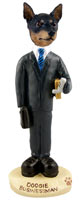 Miniature Pinscher Tan and Black Businessman Doogie Collectable Figurine