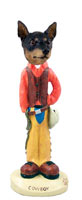 Miniature Pinscher Tan and Black Cowboy Doogie Collectable Figurine
