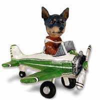 Miniature Pinscher Tan and Black Airplane Doogie Collectable Figurine