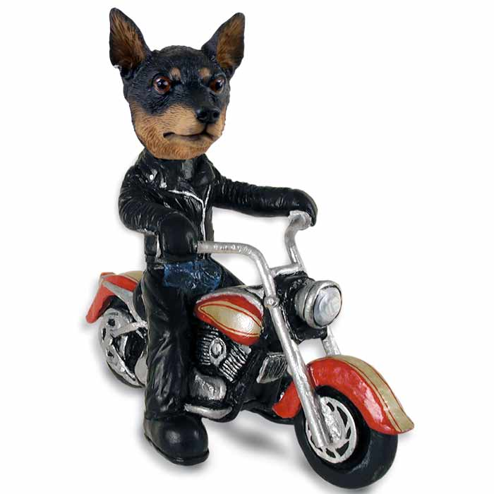 miniature pinscher tan and black motorcycle doogie collectable figurine