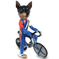 Miniature Pinscher Tan and Black Bicycle Doogie Collectable Figurine