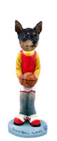 Miniature Pinscher Tan and Black Basketball Doogie Collectable Figurine