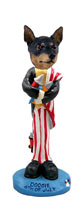 Miniature Pinscher Tan and Black 4th of July Doogie Collectable Figurine