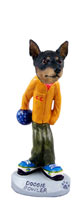 Miniature Pinscher Tan and Black Bowler Doogie Collectable Figurine