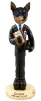 Miniature Pinscher Tan and Black Airline Pilot Doogie Collectable Figurine