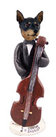 Miniature Pinscher Tan and Black Bassist Doogie Collectable Figurine