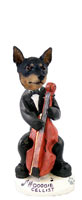 Miniature Pinscher Tan and Black Cellist Doogie Collectable Figurine