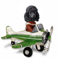 Poodle Black Airplane Doogie Collectable Figurine
