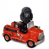 Poodle Black Fire Engine Doogie Collectable Figurine