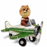 Pomeranian Red Airplane Doogie Collectable Figurine