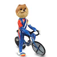 Pomeranian Red Bicycle Doogie Collectable Figurine