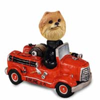 Pomeranian Red Fire Engine Doogie Collectable Figurine