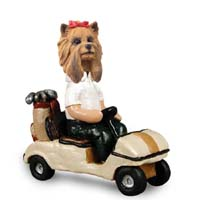 Yorkshire Terrier Golf Cart Doogie Collectable Figurine