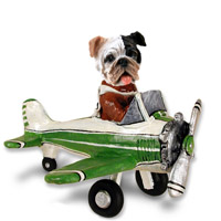 Bulldog Brindle Airplane Doogie Collectable Figurine