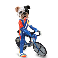 Bulldog Brindle Bicycle Doogie Collectable Figurine