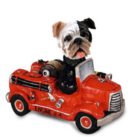 Bulldog Brindle Fire Engine Doogie Collectable Figurine