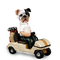 Bulldog Brindle Golf Cart Doogie Collectable Figurine