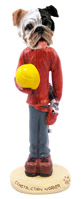 Bulldog Brindle Construction Worker Doogie Collectable Figurine