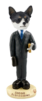 Chihuahua Black & White Businessman Doogie Collectable Figurine