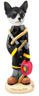 Chihuahua Black & White Fireman Doogie Collectable Figurine