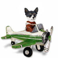 Chihuahua Black & White Airplane Doogie Collectable Figurine