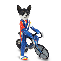 Chihuahua Black & White Bicycle Doogie Collectable Figurine