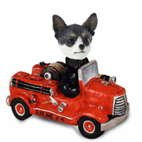 Chihuahua Black & White Fire Engine Doogie Collectable Figurine