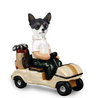 Chihuahua Black & White Golf Cart Doogie Collectable Figurine
