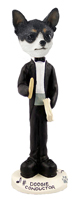 Chihuahua Black & White Conductor Doogie Collectable Figurine