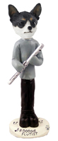 Chihuahua Black & White Flutist Doogie Collectable Figurine