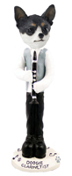 Chihuahua Black & White Clarinetist Doogie Collectable Figurine