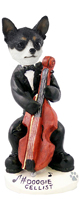 Chihuahua Black & White Cellist Doogie Collectable Figurine