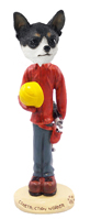 Chihuahua Black & White Construction Worker Doogie Collectable Figurine