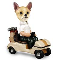 Chihuahua Tan/White Golf Cart Doogie Collectable Figurine