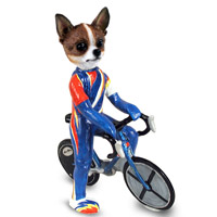 Chihuahua Brindle & White Bicycle Doogie Collectable Figurine