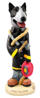 Bull Terrier Brindle Fireman Doogie Collectable Figurine