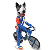 Bull Terrier Brindle Bicycle Doogie Collectable Figurine