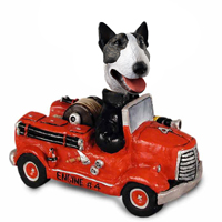 Bull Terrier Brindle Fire Engine Doogie Collectable Figurine