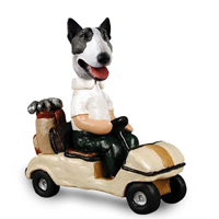 Bull Terrier Brindle Golf Cart Doogie Collectable Figurine