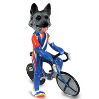 German Shepherd Black & Silver Bicycle Doogie Collectable Figurine