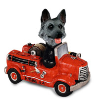 German Shepherd Black & Silver Fire Engine Doogie Collectable Figurine