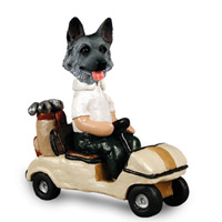 German Shepherd Black & Silver Golf Cart Doogie Collectable Figurine