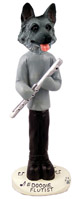 German Shepherd Black & Silver Flutist Doogie Collectable Figurine
