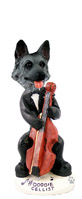 German Shepherd Black & Silver Cellist Doogie Collectable Figurine