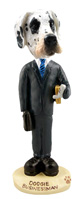 Great Dane Harelquin Uncropped Businessman Doogie Collectable Figurine