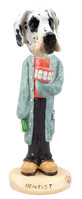 Great Dane Harelquin Uncropped Dentist Doogie Collectable Figurine