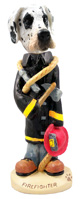 Great Dane Harelquin Uncropped Fireman Doogie Collectable Figurine