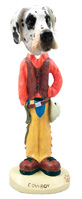 Great Dane Harelquin Uncropped Cowboy Doogie Collectable Figurine